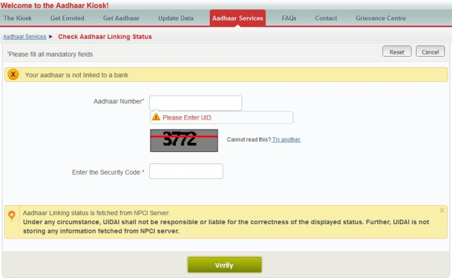 check link bank account with aadhar