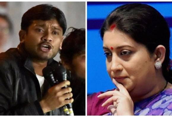 Image result for kanhaiya kumar and smriti irani