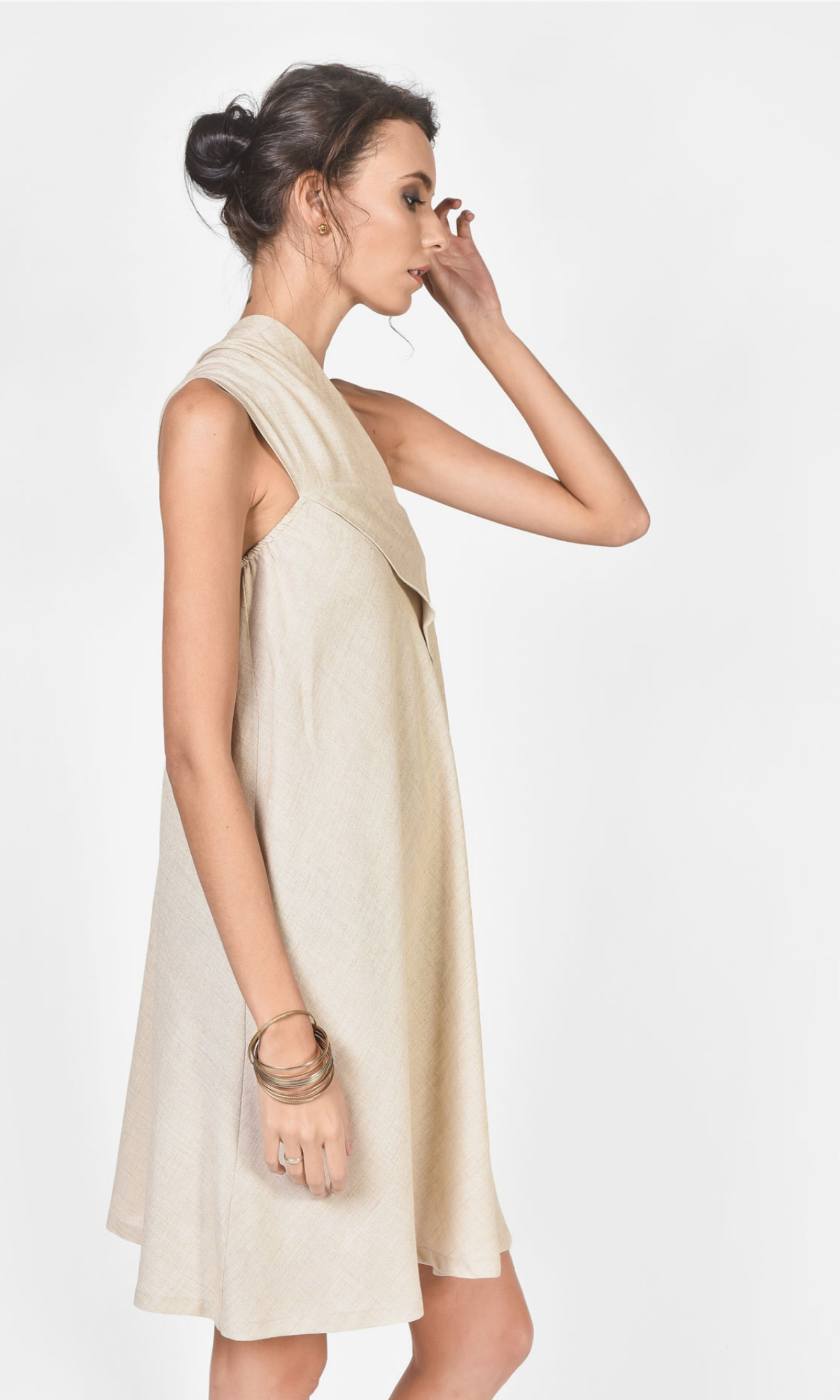 Sexy Mini Linen Dress with bare shoulder