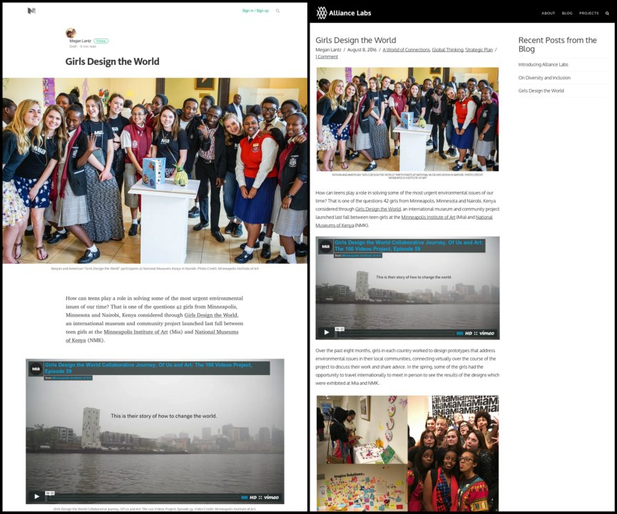 Two versions of the article hilighting the Girls Design the World project. Medium is on the left and WordPress is on the right.