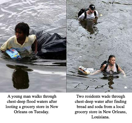 Two side-by-side images one of a black boy one of two white people wading through waist deep water in New Orleans