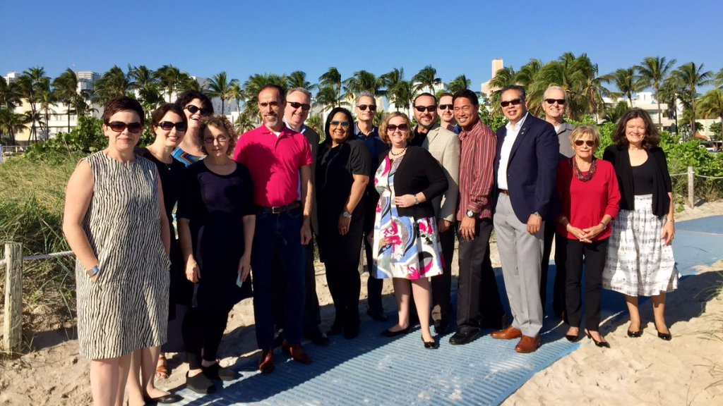 Image of AAM board on retreat in casual Miami setting