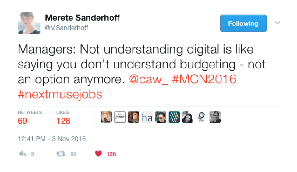 A screenshot of a tweet by @MSanderhoff