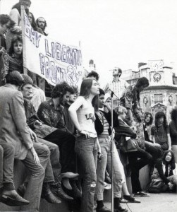 A black and white photo of protesters