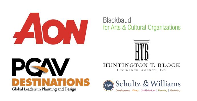 Logos for AON, Blackbaud for Arts & Culture Organizations, Huntington T. Block Insurance Agency Inc., PGAV Destinations, and Schultz & Williams
