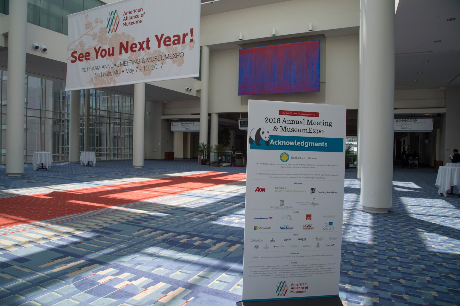 Image of a convention center with signs about the 2016 AAM Annual Meeting and MuseumExpo