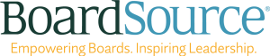"""Board Source logo. Where Board is in green, Source is light blue written over """"Empowering Boards. Inspiring Leadership."""" written in yellow text."""