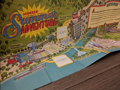 Graphic map of Pittsburgh with Member Summer Adventure printed.
