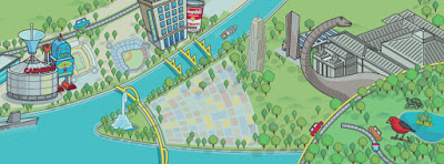 Visual map image of downtown Pittsburgh.