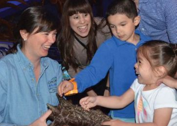 Victoria Egerton shown holding a piece of a dinosaur smiling broadly with two children smiling in front of her.