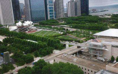 Areal image of the top of the Millennium Park.