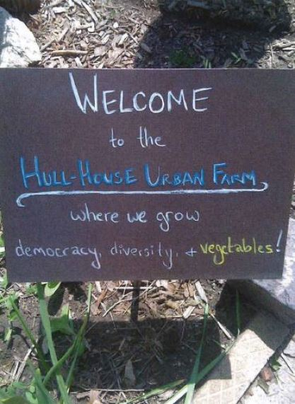 "View of a Welcome sign saying ""Welcome to the Hull-House Urban Farm where we grow democracy, diversity, + vegetables!""."