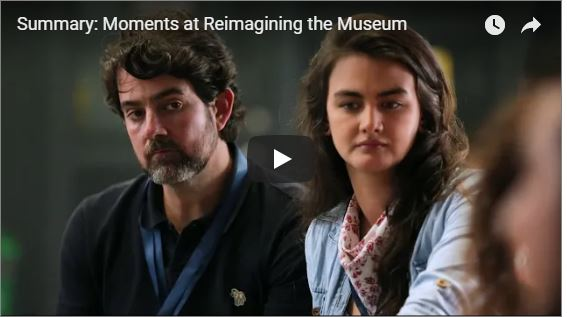 Screen capture image of an image from the Summary of Reimagining the Museum conference video.