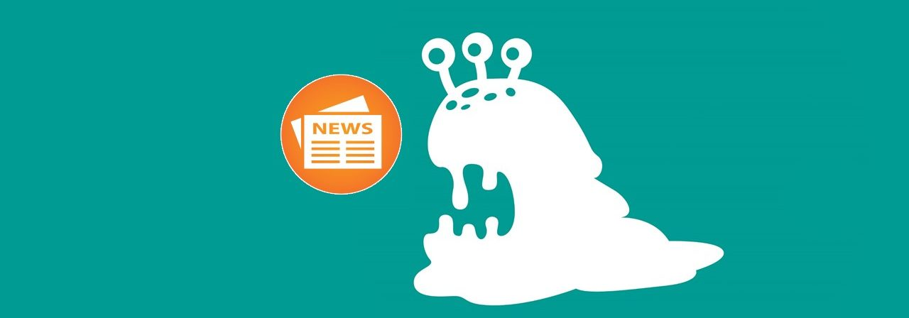 Graphic depiction in white of a sea slug with three eyes on top of its head and a newspaper icon in orange.