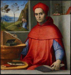 Image of a painting of a cardinal wearing a red robe next to a window with a man standing on a hill near some tress and the ocean in the distance.
