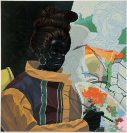 This portrait depicts a young woman with jetblack skin holding a long, thin paintbrush up to a colorful, messy painter's palette. She is shown in a three-quarter pose, gazing directly at the viewer.