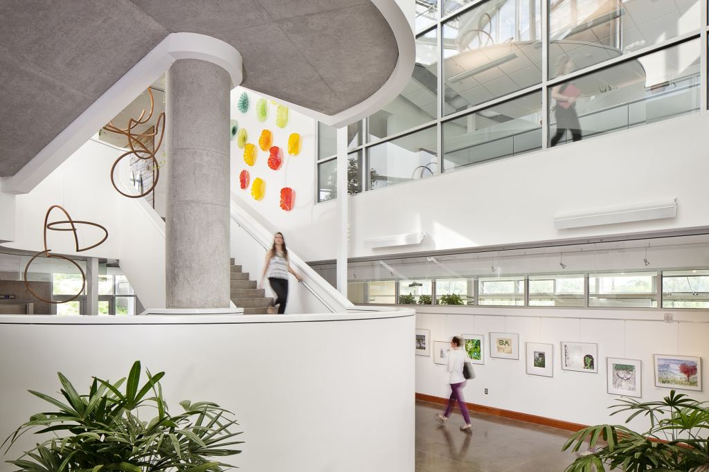 The lobby of a building with strong natural lighting, large glass windows, colorful art with organic shapes displayed, and plants on view.