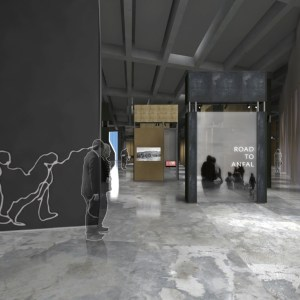 "A rendering of the museum's permanent exhibition shows hypothetical visitors entering a gallery with the title ""The Road to Anfal."" A line drawing of a procession of people runs along to wall leading in, and screens inside the exhibition shows projections of Kurdish scenes."