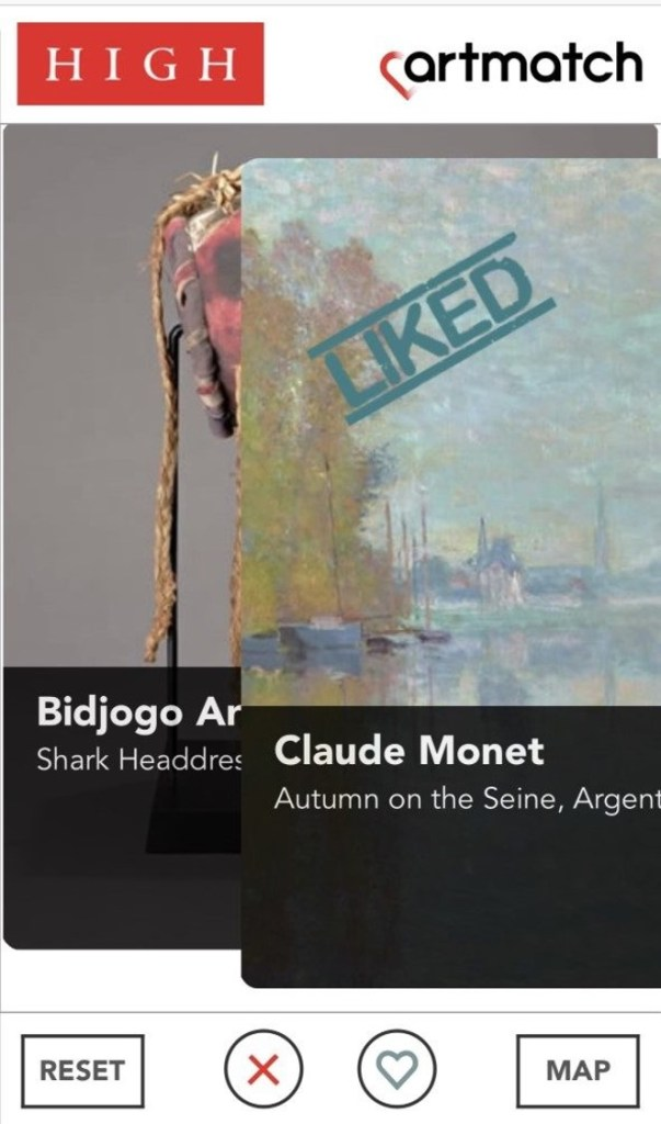 "A screenshot of the app shows a Claude Monet painting being ""liked,"" while the next work in the sequence peeks out from behind it."