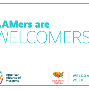 "Printable sign that says ""AAMers are welcomers!"""