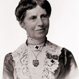 Black-and-white bust portrait of Clara Barton