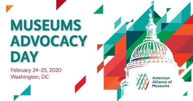 Museums Advocacy Day 2020 Graphic. Notes the dates of the event, February 24-25, 2020, and the location, Washington DC