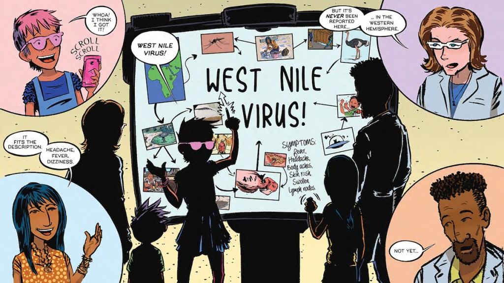 A panel from the comic shows the children mapping out the spread of West Nile virus, with a list of symptoms associated with the virus.