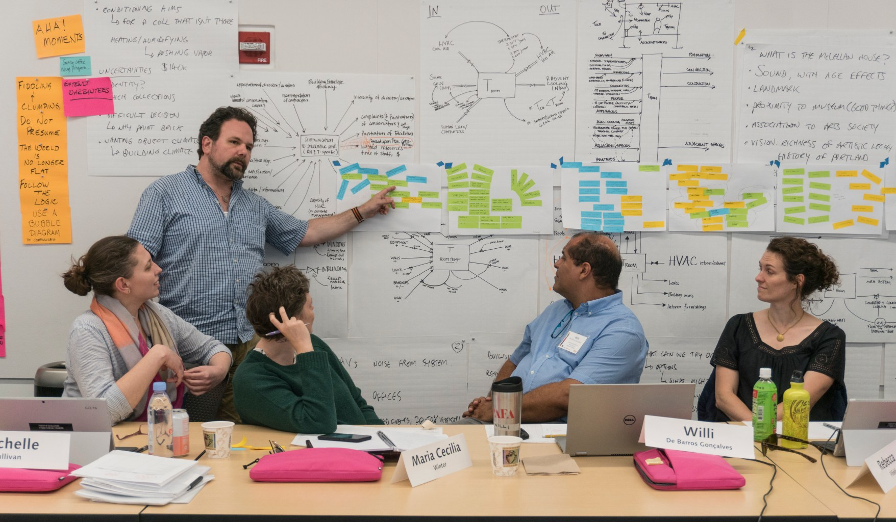 A group of people look at diagrams on a whiteboard.