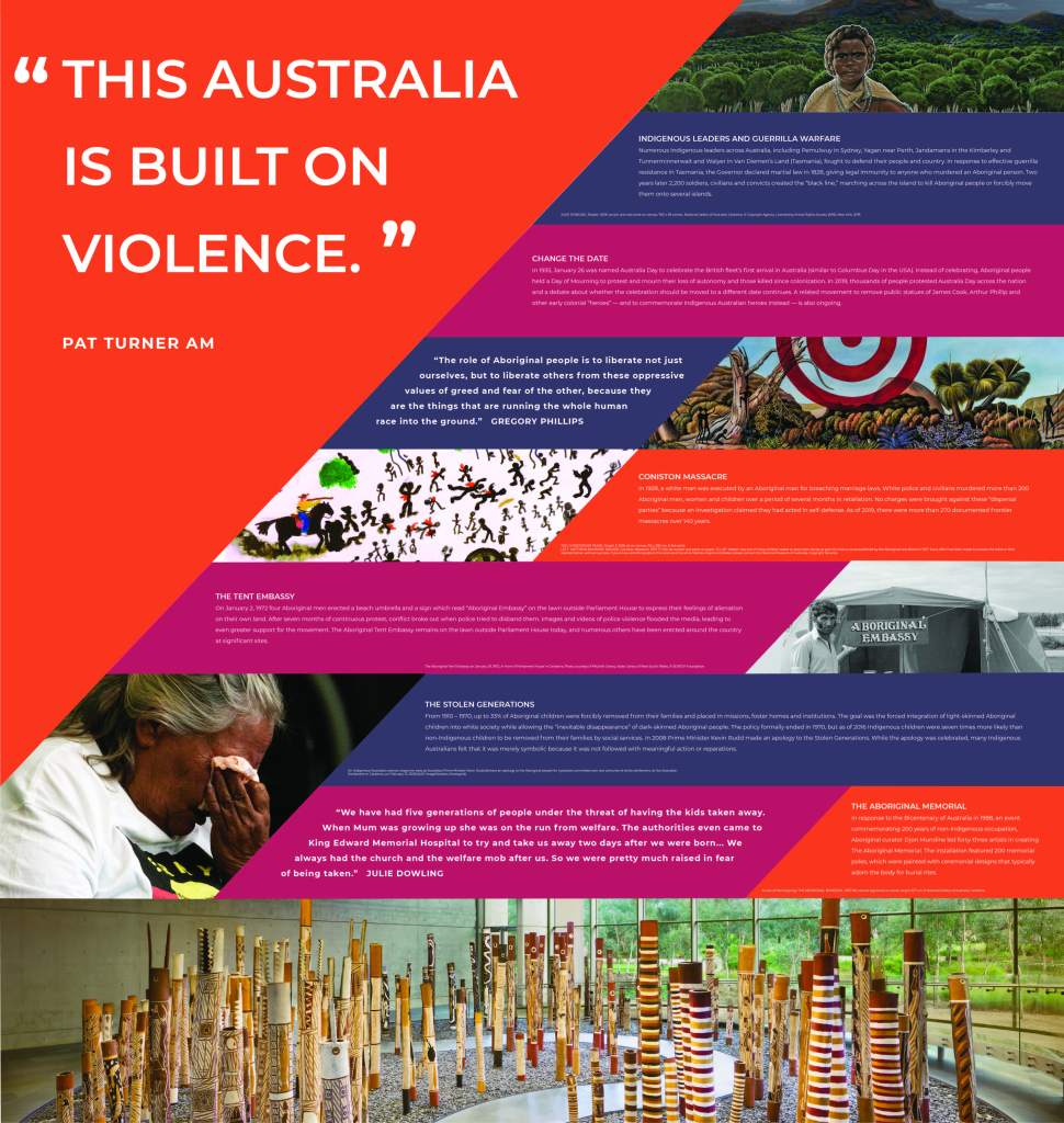 "A panel that reads ""This Australia is built on violence."""