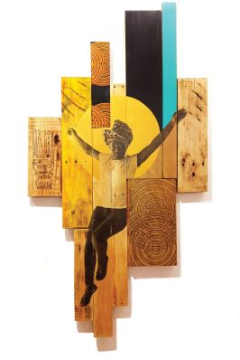 Art piece showing a woman jumping with her arms outstretched in front of a yellow round shape painted/affixed to a series of varying sized wooden panels.