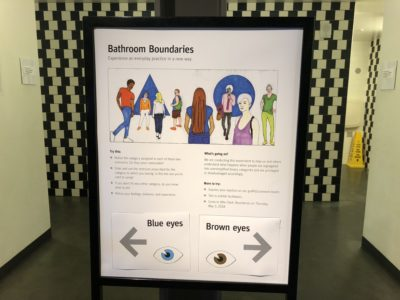 A bathroom sign showing various types of people and suggestions for which bathroom to use suggesting that blue eyed people go to the left and brown eyed people go to the right.