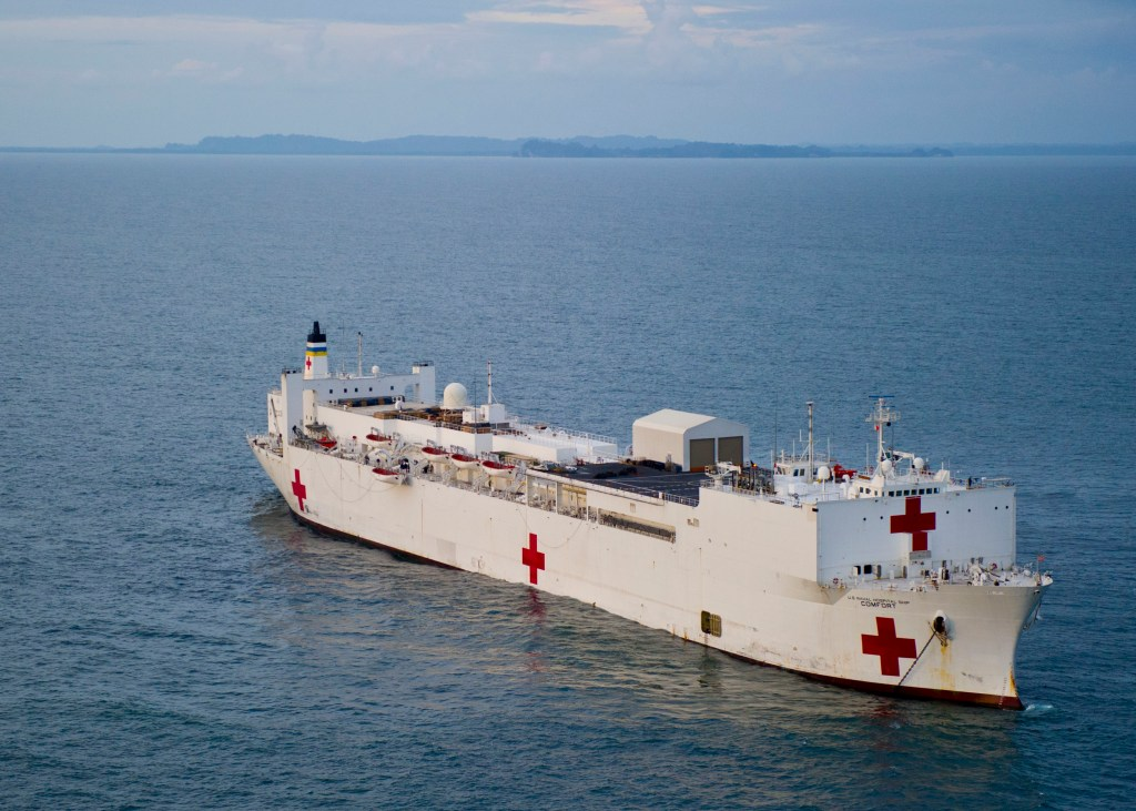 USNS Comfort is anchored off the coast of Tumaco, Colombia, during Continuing Promise 2011. (U.S. Navy photo by Mass Communication Specialist 2nd Class Jonathen E. Davis/Released)