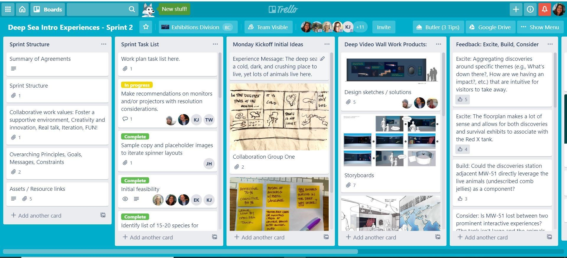 """A dashboard on the Trello platform titled """"Deep Sea Intro Experiences - Sprint 2"""" with tabs reading """"Sprint Structure,"""" Sprint Task List,"""" """"Monday Kickoff Initial Ideas,"""" """"Deep Video-Wall Work Products,"""" and """"Feedback: Excite, Build, Consider."""""""
