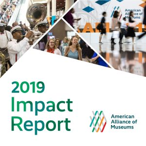 Photos of people enjoying the 2019 AAM Annual Meeting with text that reads 2019 Impact Report with AAM logo.