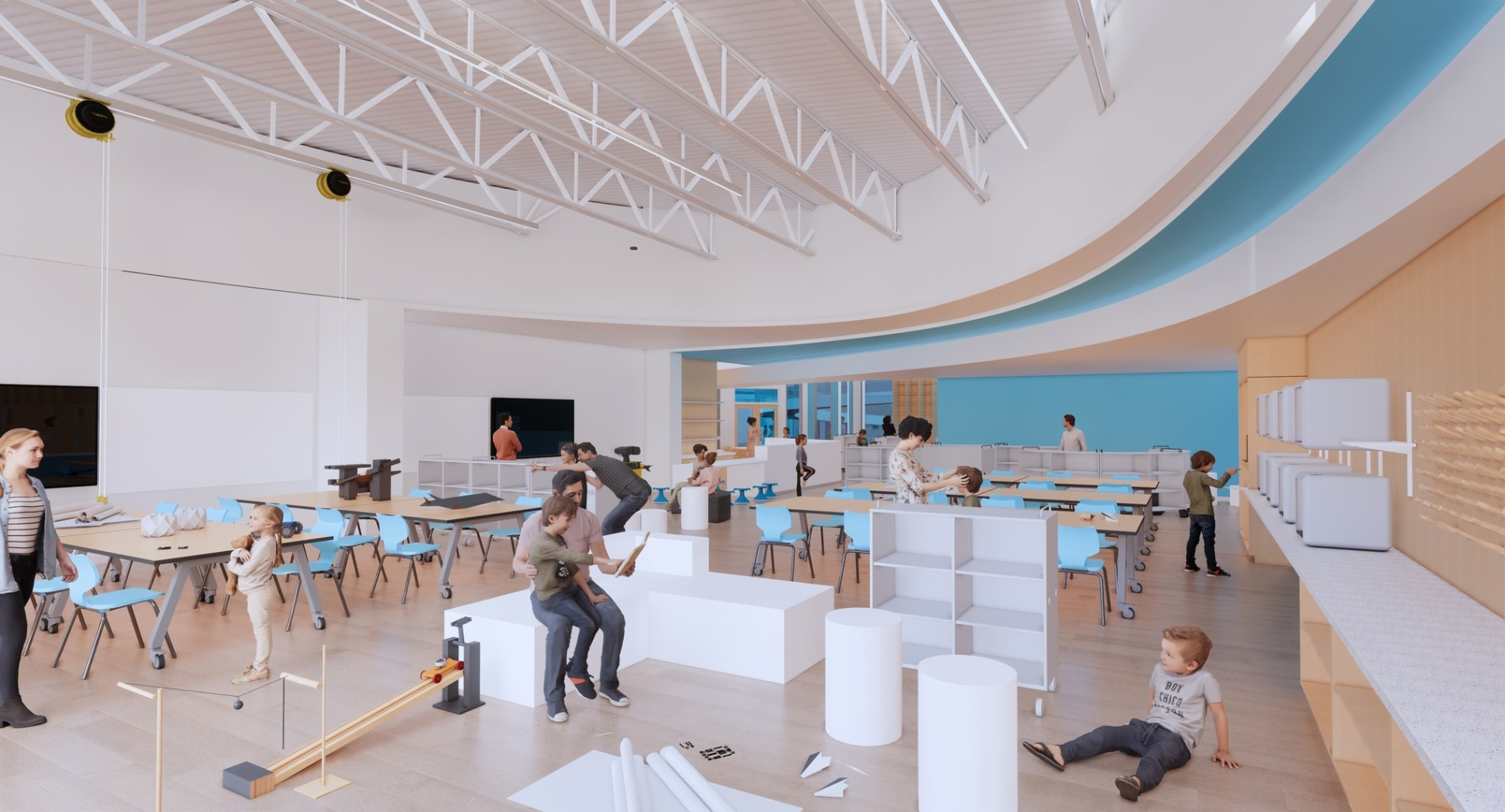 Rendering of a large, dynamic classroom setting