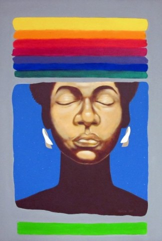 A painting of prismatic stripes surrounding a stylized face of a Black woman
