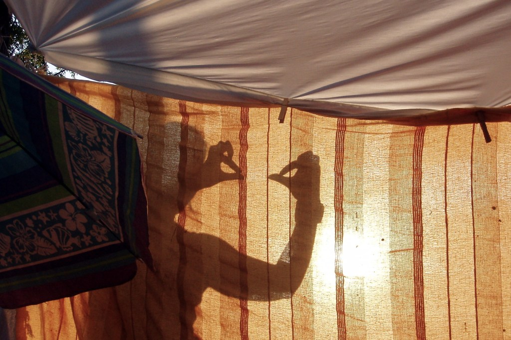 A shadow puppet show taking place behind a sheet