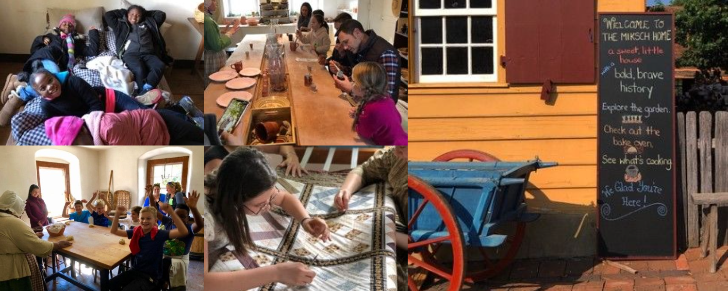 A gallery of images showing children participating in hands-on activities inside the museum's historic buildings