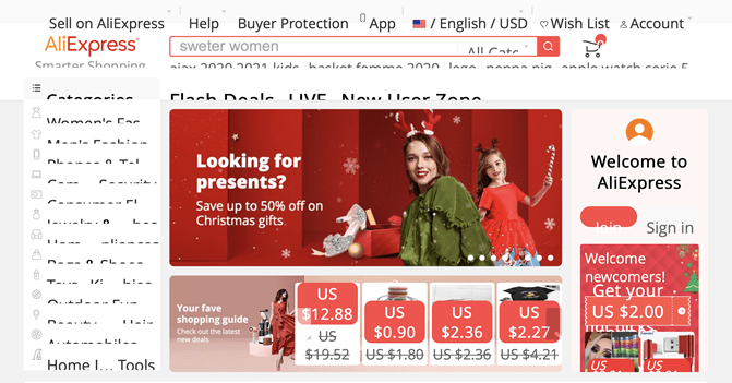 A screenshot of the AliExpress homepage where menus and objects are cut off because the page is zoomed-in