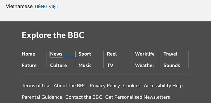 A screenshot of a BBC page where a thin colored outline appears around a menu item as the user is focused on it