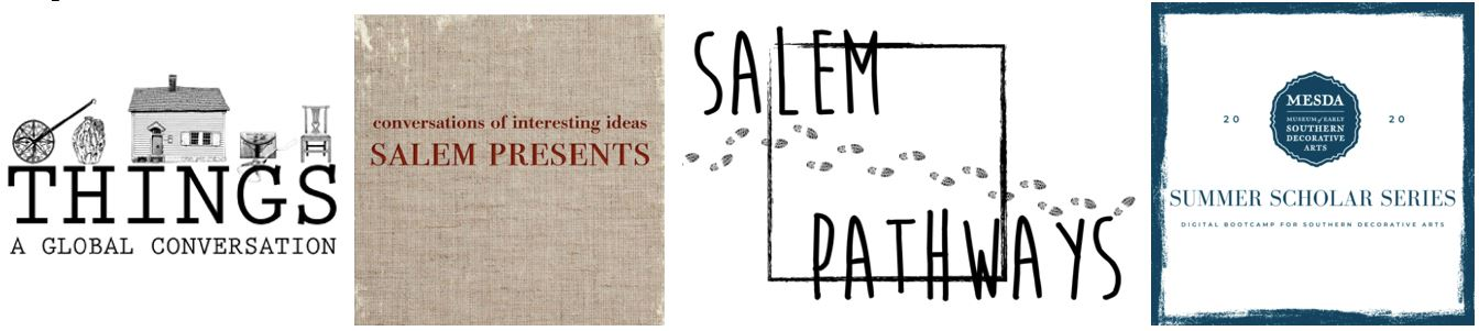 """A grid of graphics for programs with names like """"Things: A Global Conversation,"""" """"Salem Presents,"""" """"Salem Pathways,"""" and """"MESDA Summer Scholar Series"""""""