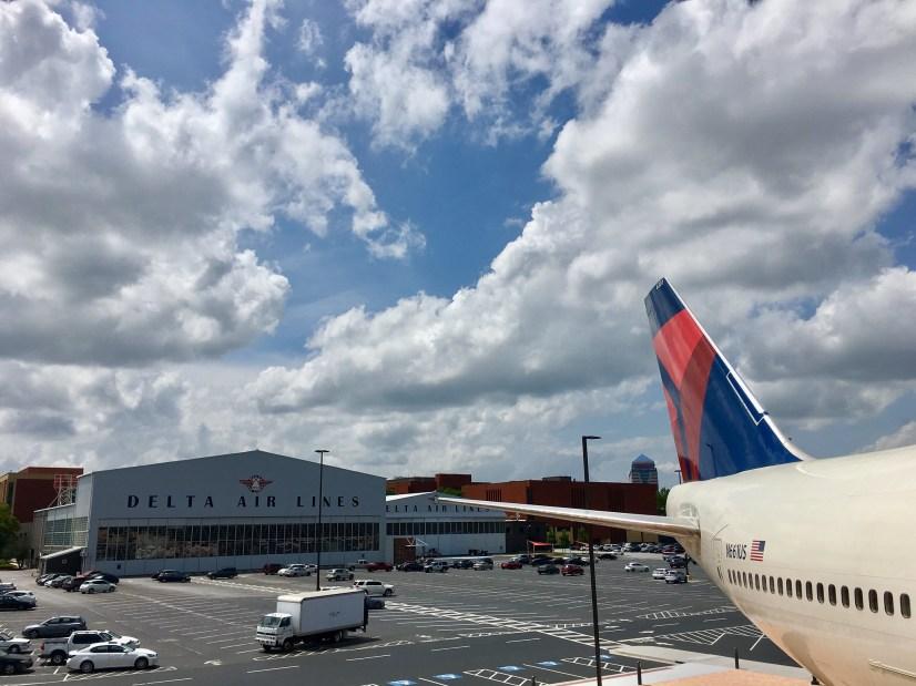 "exterior of a building reading ""Delta Air Lines"""