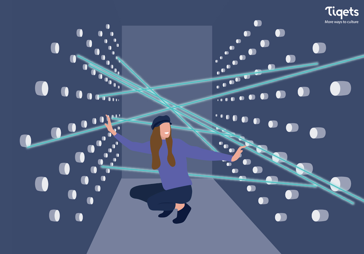 An illustration of a person inside of a room where lasers are pointing through holes in the walls