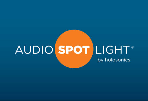 "A logo reading ""Audio Spotlight by holosonics"""