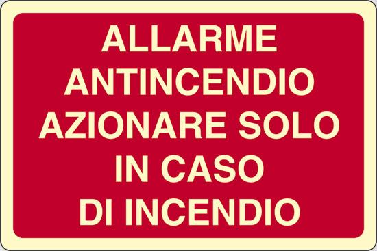 ALLARME ANTINCENDIO AZIONARE SOLO IN CASO DI INCENDIO luminescente