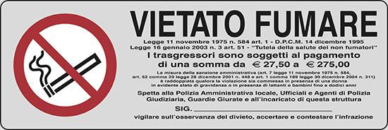 VIETATO FUMARE Legge 11 novembre 1975, n. 584