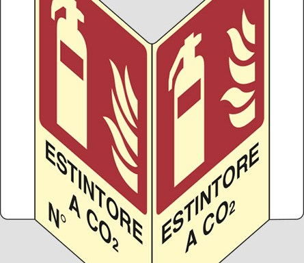 "ESTINTORE A CO2 N° ""V"" luminescente"