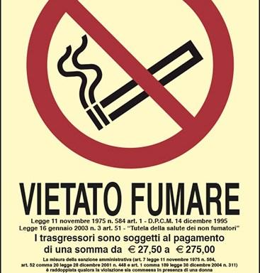 VIETATO FUMARE Legge 11 novembre 1975, n. 584 luminescente