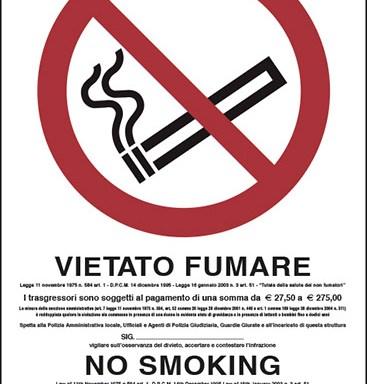 VIETATO FUMARE (con legge, in italiano e inglese)