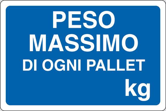 PESO MASSIMO DI OGNI PALLET Kg